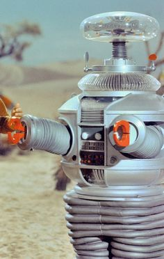 ROBOT as it appeared in an early season episode, of the TV series, LOST IN SPACE (original vintage image cropped, density & color adjusted). Vintage Robots, Retro Robot, Vintage Tv, B9 Robot, Space Tv Shows, Tv Retro, 2001 A Space Odyssey, Sci Fi Tv, Old Shows