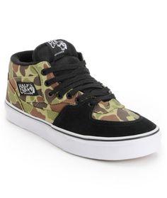 57ab7bf0d63 Vans Half Cab Camo   Black Skate Shoes