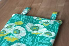 Hanging Kitchen Wetbag Poppies on teal, ready to ship on Etsy, $19.00