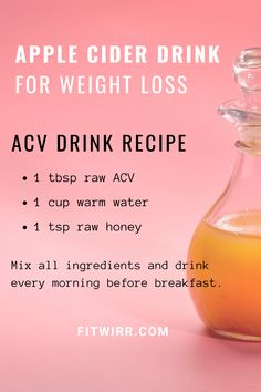 Apple cider drink for weight loss: ACV Drink recipe to make a morning weight loss drink to start flushing your toxins, aiding digestion, an. Weight Loss Meals, Weight Loss Drinks, Apple Cider Diet, Apple Cider Vinegar For Weight Loss, Apple Vinegar Diet, Acv Diet, Apple Cider Vinegar Shots, Apple Cider Vinegar Benefits, Morning Drinks