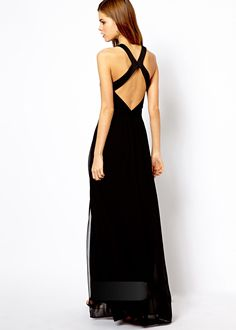 Sexy Cross Hollow Out Behind The Chiffon Club Maxi Black Dress 2017 New Arrival Summer Plus Size Women Party Dress Vestidos Fall Dresses, Prom Dresses, Formal Dresses, Lovely Dresses, Beautiful Gowns, Sexy Dresses, Bridesmaid Dresses, Wedding Dresses, Backless Long Dress
