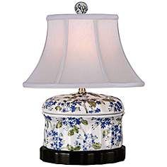 Blue And Green Floral Oval Porcelain Jar Table Lamp