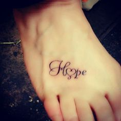 Mother Daughter Tattoos On Foot | Hope and heart tattoo on feet - Tattoo Mania