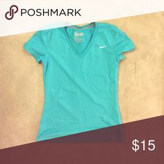 Nike DRI-FIT v-neck workout tee Lightweight DRI-FIT V-neck in teal. Great for workouts, comfortable and light. Worn one time! Nike Tops Tees - Short Sleeve
