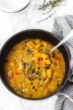 Black bean with sweet butternut squash and collard greens make this healthy stew so hearty and comforting! Easy to prepare with unique tropical twist. Butternut Squash Stew, Squash Soup, Recipes For Butternut Squash, Acorn Squash, Soup Recipes, Vegetarian Recipes, Cooking Recipes, Healthy Recipes, Recipes