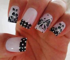 Spare a little time to fashion your nails with vibrant nail art designs. When creating nail designs such as flowers, each part is made individually in advance, Get Nails, Fancy Nails, White Nail Designs, Nail Art Designs, Nails Design, Bow Design, Gorgeous Nails, Pretty Nails, Rainbow Nail Art