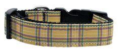 Nylon Ribbon Dog and Cat Collars/Leashes - Plaid