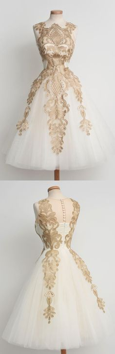 Teenagers Unique Applique Ivory Tulle Sleeveless Short Homecoming Dresses, PM0425