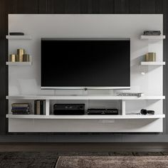 Orren Ellis Stein Floating mount Entertainment Center for TVs up to – entertainment center ideas living room Floating Entertainment Center, Living Room Entertainment Center, Entertainment Area, Entertainment Products, Tv Unit Interior Design, Tv Wall Design, Tv Unit Decor, Tv Wall Decor, Tv Wanddekor