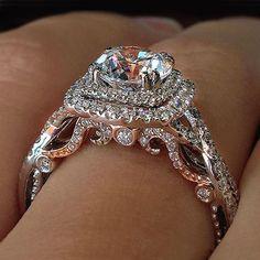 Verragio Engagement Rings, Vintage Gold Engagement Rings, Buying An Engagement Ring, Gold Diamond Wedding Band, Dream Engagement Rings, Wedding Rings Vintage, Rose Gold Engagement Ring, Halo Engagement, Diamond Rings