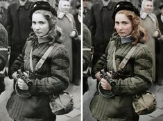 """""""Erika, a Hungarian Freedom Fighter, carries a machine gun in Budapest during the revolution, she was eventually shot by the Soviets"""" People Photography, Portrait Photography, Old Photos, Vintage Photos, Colorized History, Hungarian Girls, World Press, Freedom Fighters, A Whole New World"""