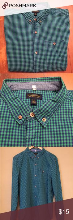 CPO Provisions Checkered Shirt From UO For Guys Trendy Hipster Men CPO Provisions blue and green checkered shirt from Urban Outfitters! Super comfortable! Urban Outfitters Shirts Casual Button Down Shirts
