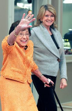 Martha Stewart, right, walks with her mother, Martha Kostyra, in New York, Friday, Sept. 16, 2005,  on her mother\s 91st birthday.