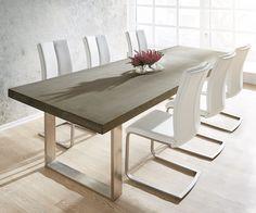 Esstisch Zement 260x100 Grau Beton Optik Gestell schmal Möbel Tische Esstische