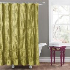 Romantic Green Modern Textured Ruched Fabric Shower Curtain Bathroom Bath