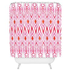 Woven shower curtain with buttonhole openings and an ikat motif. Made in the USA by DENY Designs.  Product: Shower curtain