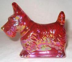 Cobalt Blue Ruby Red or Jadeite Select 1 Glass Scotty Dog Dark Pink