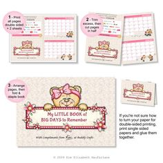 Kim's Printables - My Little Book of BIG Days to Remember