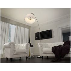 Beta Floor Lamp with White Fabric Shade | Modern Arc Lamp | On Trend | Living Room Decorating | Eurway