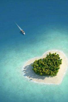 Tiny heart shaped island in fiji