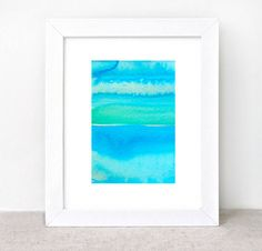 original abstract watercolor painting - gallery fine art - modern contemporary interior design - ooak home wall decor - blue green on Etsy, Sold