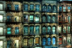 HDR photo of windows and balconies of densely residential Tribeca neighborhood in New York City. These buildings are on Church St just south of Canal St.