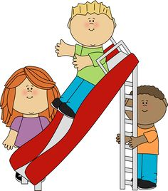 children at play clip art | Kids Playing on a Slide Clip Art Image - kids standing around a slide ...