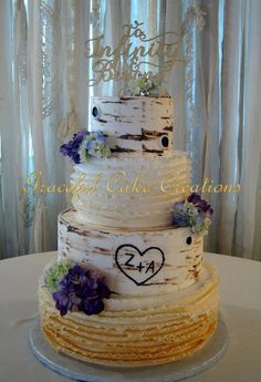 https://flic.kr/p/FSRZws | Elegant Rustic Birch Bark Wedding Cake with a Fondant Ombre Ruffle Design accented with Fresh Purple and Green Hydrangea
