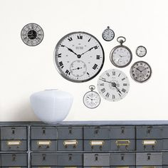 Vintage Clocks: Break the frame and forget those conventional old prints—you're no square! Fresh from the designers at Nouvelles Images comes an outside-the-box way to create a space that's all your own. This collection of Homestickers wall decals are easy to apply, reposition and remove. (But why would you want to do that!?) Printed on paper, this wall sticker can be applied to any smooth surface—wall, furniture, even appliances.  Fab.com  $19