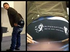 Only Misha would take off his pants to show the fans the underwear that he designed with Jared and Jansens faces on the butt