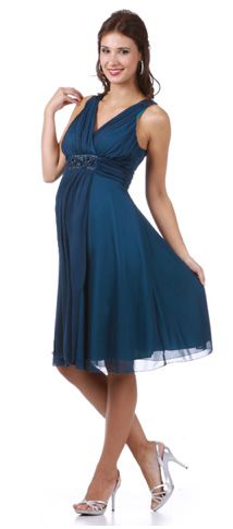 924b8483466 Teal Dress Tank Straps Knee Length Empire Modest Gown for bridesmaids. Val  Rogers · Black Tie Maternity Dresses