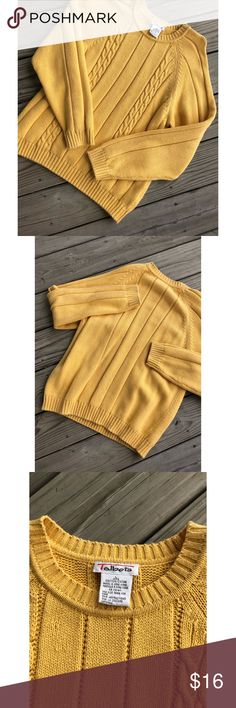 Mustard Colored Talbots Sweater Very nice and comfy!! In great condition. This is one of my favorite colors. Perfect for those chilly days. If you have any questions then please feel free to ask me! Talbots Sweaters