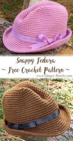 Snappy Fedora in 3 Sizes | Free Crochet Pattern at Ginger-Peachy.com