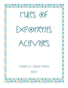 Three activities (two coloring pages and one riddle) are included in this document to allow your students to practice using Rules of Exponents Involving Products, Quotients and Zero Negative Exponents. Math Teacher, Math Classroom, Teacher Stuff, Classroom Ideas, Scientific Notation, Negative Numbers, Math Resources, Teaching Tips, Algebra