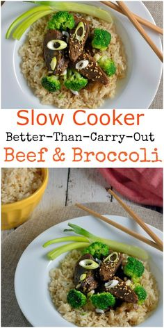 Slow Cooker Beef and Broccoli- better than take-out, beef and broccoli only takes 10 minutes from fridge to slow cooker.   #beefandbroccoli   www.savoryexperiments.com