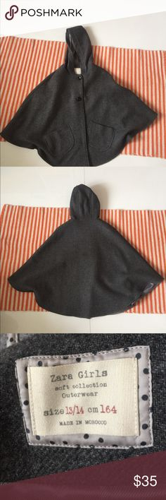 Grey poncho This poncho is perfect for the fall and winter season. It has two big buttons in the front and one on each hem. This has only been worn a couple times so it's in perfect condition. Zara Jackets & Coats