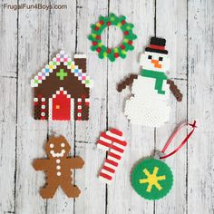 Printable Christmas Perler Bead Patterns - Frugal Fun For Boys and Girls Homemade Christmas Presents, Christmas Crafts For Kids, Christmas Printables, Kids Crafts, Christmas Decorations, Perler Bead Ornaments Pattern, Beaded Ornaments, Perler Patterns, Loom Patterns