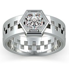 Castor Solitaire Mangagement™ Ring - Love is an eternal symbol of the divine, keeping us alive even in the toughest of times. Castor is a symbol of the strength of this love. The offset band is held together by the 1 carat center diamond in a nuts and bolts setting design. Mangagement™ by Brilliance.