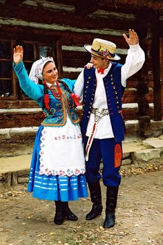 Europe | Portrait of a couple wearing traditional clothes, Rzeszów, Poland
