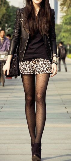Leather jacket with leopard mini skirt and boots