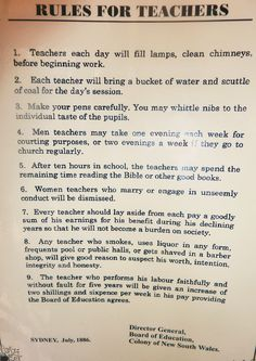 Rules for Teachers poster. Sydney, NSW Australia 1886 was indeed a very different time.