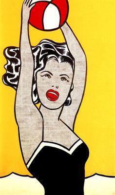 Reproduction de Roy Lichtenstein, Girl with ball (Fille au ballon). Tableau peint à la main dans nos ateliers. Peinture à l'huile sur toile.