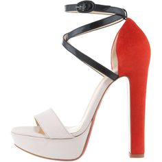 Christian Louboutin Summerissima Crisscross Platform Sandal,... ($995) ❤ liked on Polyvore featuring shoes, sandals, heels, christian louboutin, louboutin, block heel sandals, nude sandals, leather sandals, buckle sandals and high heel sandals