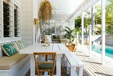A little bit of wishful thinking and a whole lot of renovating know-how came together in this charming Byron Bay beach house renovation. Outdoor Areas, Outdoor Rooms, Outdoor Living, Outdoor Furniture Sets, Outdoor Decor, Cabana, Home Fencing, Yard Fencing, Fence Art