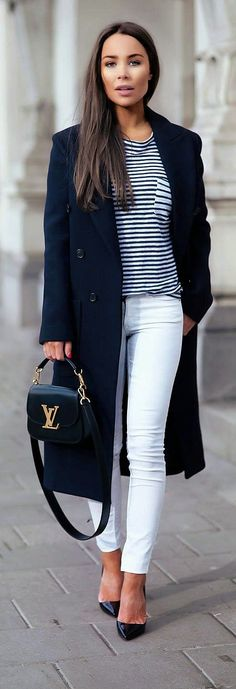 Designer fashion | Striped T-shirt, white skinnies, navy coat | Johanna Olsson