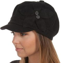 Sakkas Sasha Wool Newsboy Cabbie Hat with Button Flower