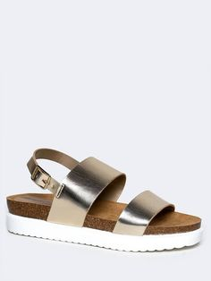 - Your lazy Sunday just got better with these platform sandals on! - Slingback sandals have wide, leatherette straps with an open toe design and an adjustable buckle in the back. - Non-skid sole and c