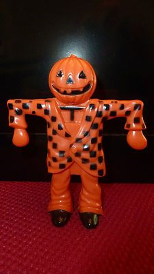 Vintage Halloween Candy Container ~ Jack O' Lantern Scarecrow