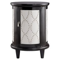 Hand-painted 1-door cabinet with faux leather inlay and nailhead trim.  Product: CabinetConstruction Material: M...