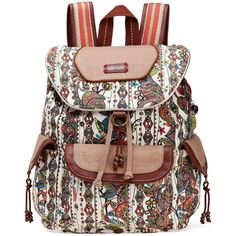 Sakroots Women's Artist Circle Flap Backpack featuring polyvore fashion bags backpacks natural spirit desert print backpacks backpack strap pouch laptop pouch travel backpack laptop travel backpack